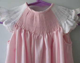 NEW! Ready-To-Smock Girl's Bishop Style Dress with Embroidered Angel Sleeves - Custom Made