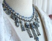 Ice blue rhinestone earri...