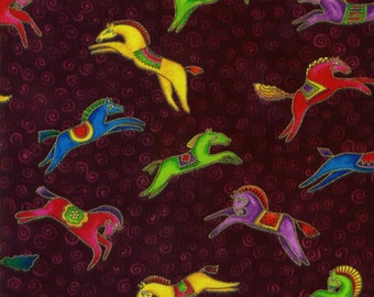 Laurel Burch Fabric Dancing Horses Burgandy Bright Horses1/2 Yard
