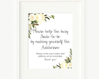 Address an Envelope Sign, White Floral Bridal Please write your name and address on an envelope 107 Printableble