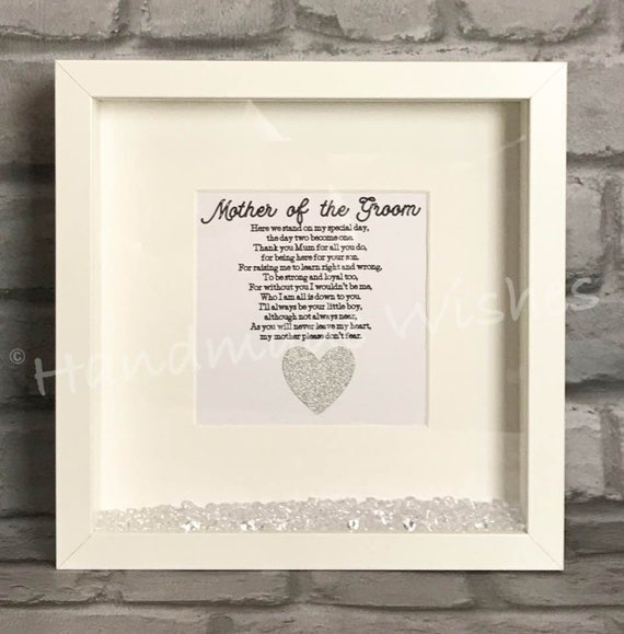 Beautiful personalised Mother of the Groom box frame wedding