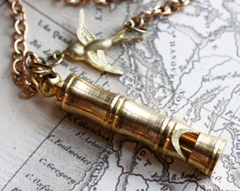 Gold Whistle Necklace, Vintage Whistle Necklace, Bamboo Brass Whistle with/without  Bird Charm - Hiking Whistle - Steampunk Jewelry