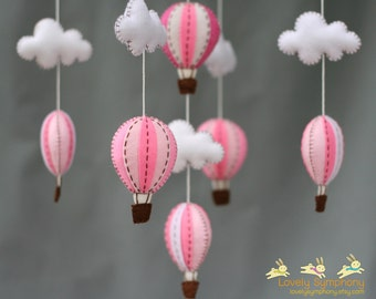 Pink hot air balloons baby mobile - baby mobile