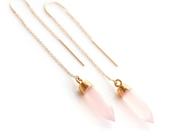 Pink Chalcedony Threader Earrings, 14k Gold Filled Gemstone Earring, Minimalist Jewelry, Ear Threader Earring, Dainty Drop Chain, Delicate