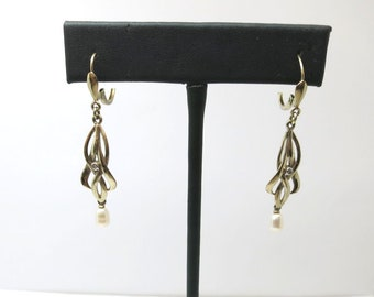 antique diamond sea pearl gold earings | art nouveau drop down gold earings