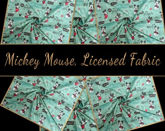 Mickey Mouse -  Green, Happy Mickey Pattern, licensed fabric