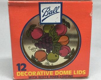 Vintage Ball Decorative Dome Lids Mason Jar Set of 12 NOS Fruit