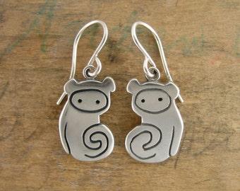 Sterling Silver Monkey Earrings