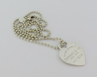 Authentic TIFFANY & CO Return to Tiffany Heart Tag Bead Chain Pendant Necklace