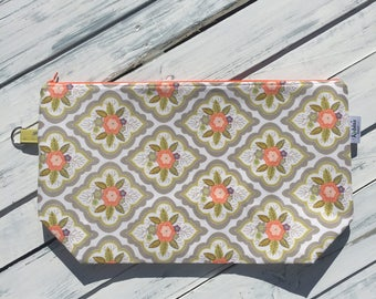 Large Peach Flowers - Knitting Project Bag - Hand Made