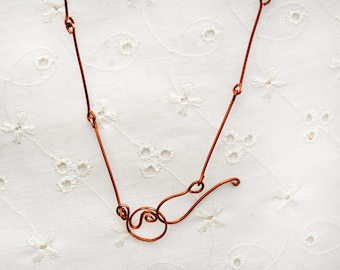Necklace. Copper Necklace. Thin Minimalist Copper Wire Necklace. Copper Jewelry. Long Links. Handmade. Israeli Jewelry. Free Shipping Israel