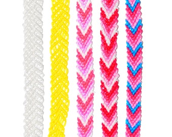 Chevron Colourful Knotted Friendship Bracelet, Anklet, or Bookmark