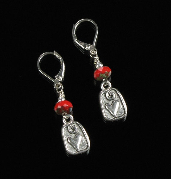 Modern Silver Heart Earrings, Silver Leverback Earrings, Silver Red Handmade Jewelry Unique Valentines Gift for Her, Wife, Girlfriend, Mom