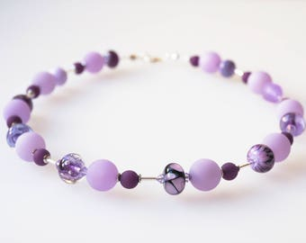 purple necklace violet lilac with handmade glass beads lampwork unicate