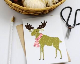 8 Moose Christmas Cards, Christmas Stationery, Moose Greetings, Xmas Greetings, Winter Animal Cards, Box Set Xmas Cards, Xmas Novelty Cards