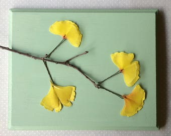 Handmade Ginkgo Biloba Leaves Hair Bobby Pins in Yellow Cotton and Silk Organza Fabric - 4 pieces