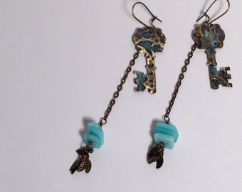 Keys to the attic, OOAK vintage style earrings. Embossed and patinated Vintaj brass keys with Amazonite chips. Rustic, Boho Chic, Steampunk.