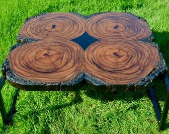 Hand Made Acacia Root Coffee Table with Steel Mid Century Modern Inspired Legs and Rosewood Butterflies