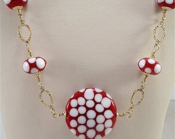 Handmade Lampwork Bead Necklace - Red White Gold - SRAJD