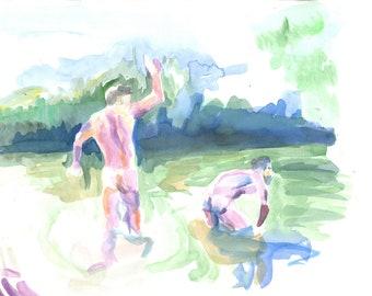 Original watercolor sketch men playing in water