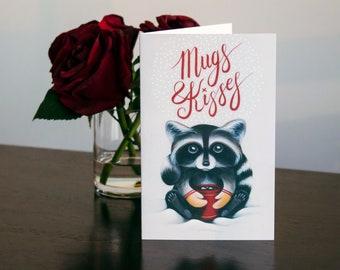 Mugs & Kisses, Raccoon Card, Hot Chocolate Card, Hot Chocolate, Racoon Card, Well Wishes, Marshmallow, Red Card, Red Mug, Cute Raccoon, 5X7