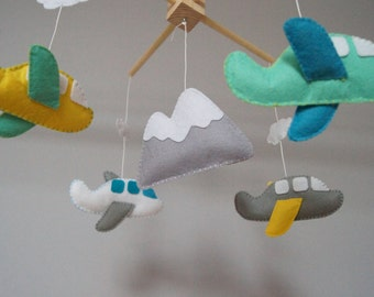 Baby Crib Mobile - Music Baby Mobile - Felt Mobile - Nursery mobile -  Baby mobile Mountain and airplanes