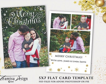 Christmas Card Template,5x7in Photoshop Template, INSTANT DOWNLOAD, sku xm15-6