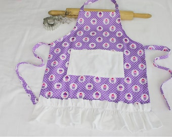 Purple Cupcakes Ruffled Child Apron - with white pocket and ruffle - ready to ship