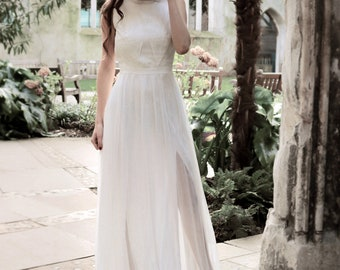 Lace wedding dress, boat neck, rustic wedding, bridal gown, wedding simple dress, wedding gown, bohemian wedding, vintage - Vina Dress