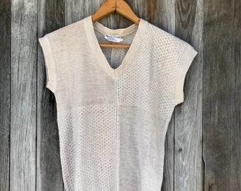 80s Sleeveless Knit Top, Basic Tee, Small