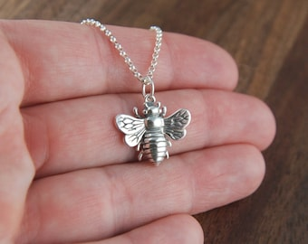 Large bee necklace in sterling silver, big bee, bee jewelry, honeybee, bee charm, bumble bee, sterling silver bee, mother's day