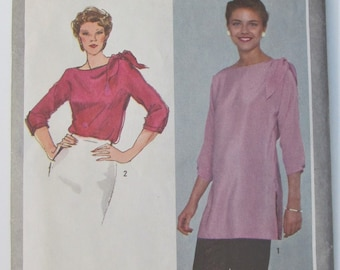 Pullover Top Or Tunic Self Tie At Shoulder Three Quartet Length Sleeves Size 14 Blouse Shirt Sewing Pattern Simplicity 9742