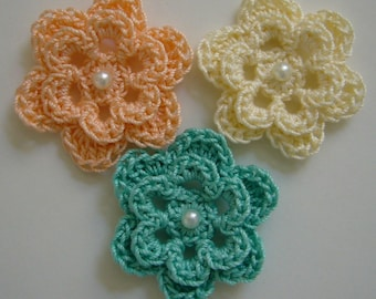 Trio of Crocheted Flowers - Peach, Cream and Aqua with Pearl - Cotton Flowers - Crocheted Flower Appliques - Crocheted Embellishments