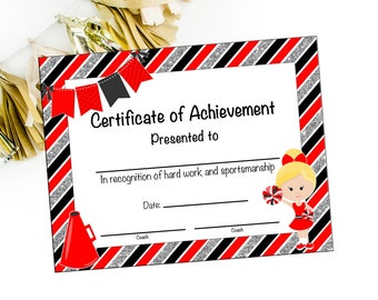 Cheerleader award etsy instant download cheerleading certificate cheerleading award cheerleading printable cheerleading achievement end yadclub Image collections
