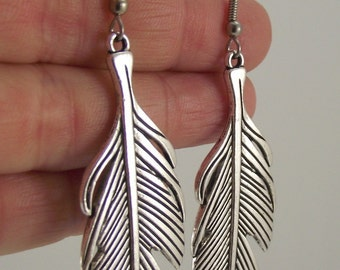 Bold Pewter Feather Earrings, Antiqued Silver Earrings, Silver Feather Jewelry, Gift for him, Gift for her, Gift under 25