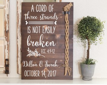 Cord of Three Strands wood ceremony sign, Unity Cords, Unity Ceremony, A cord of three strands is not easily broken. Ecc 4:9-12, Unity Cord