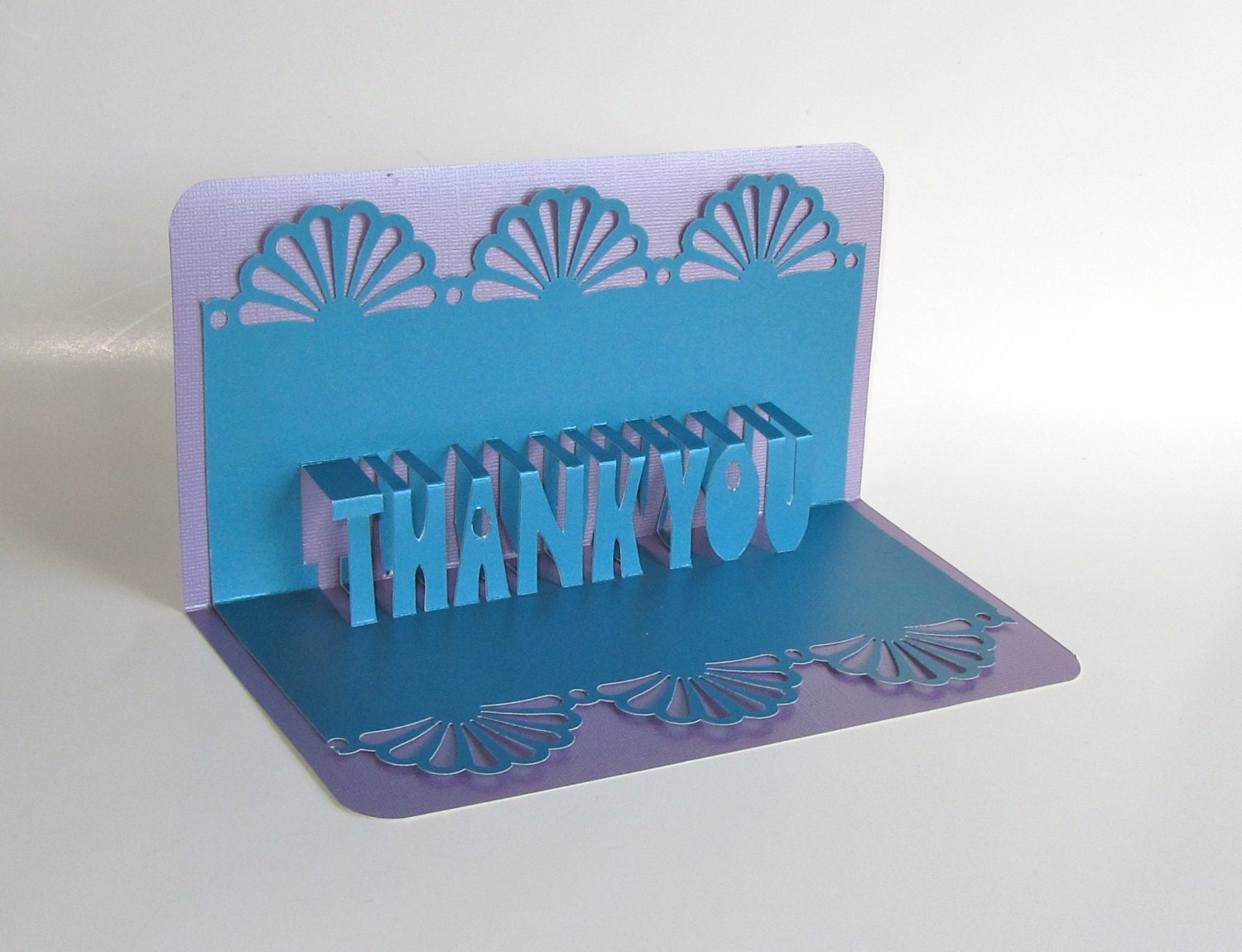 Thank you 3d pop up greeting card in metallic blue on metallic zoom kristyandbryce Image collections