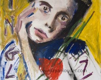 Girl Painting, First Date Painting, Girl Art, Girl Picture, Girl Wall Art, Yellow Wall Art, Graffiti Art, Modern Art,