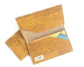 Cork card case, mustard yellow cork fabric. Business card case. Card holder.