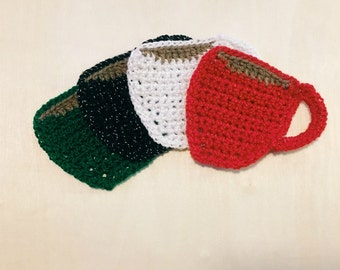 Crochet Coffee Mug Coasters, Gift Set of 4, Housewarming | Hostess | Thank You Gift, Handmade Coffee Cup Coasters, Christmas/Holiday Colors