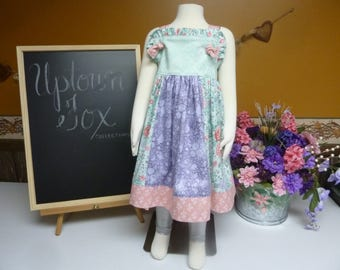 Matilda Jane Style Dress/Knot Dress/Easter Dress/Lavendar and Pink Girl's Dress/Botique Dress