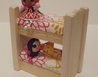 Wooden Toy, Natural Wood Doll House Mini Bunk Bed, Dollhouse Furniture, Kids gift, Handmade Waldorf toy,Jacobs Wooden Toys