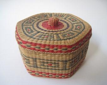 Vintage Woven Lidded Multicolored Hexagon Shaped Basket