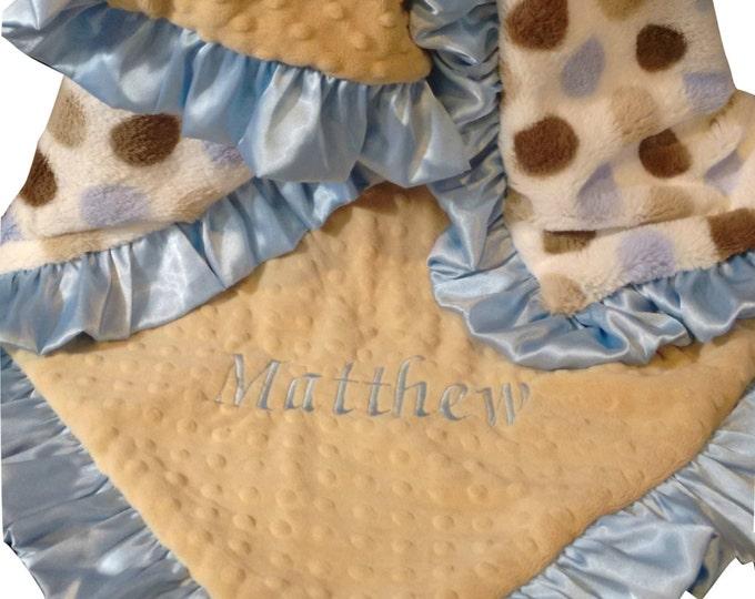 Blue Silky Polka Dot and Caramel Minky Baby Blanket, option