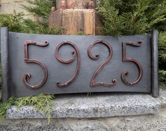 House Number / Metal scroll / House Number / Address numbers / Metal House Numbers / house address / home address / rustic number