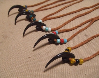 Eagle claw glass and brass leather necklace native american style 5 necklaces