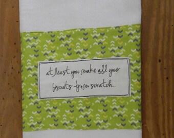 Scratch Biscuit Maker towel, southern humor, green arrow print