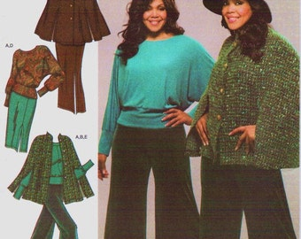 Khaliah Ali Womens Cape and Knit Top, Gauchos & Skirt OOP Simplicity Sewing Pattern 3991 Size 18 20 22 24 Bust 40 42 44 46 UnCut