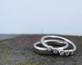 Faceted 5 stone bezel set diamond  ring palladium wedding or anniversary band