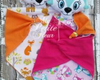 Fox Lovey, Baby Blanket, Animal Blanket, Cuddle Blanket , Security Blanket, Blanket Buddy